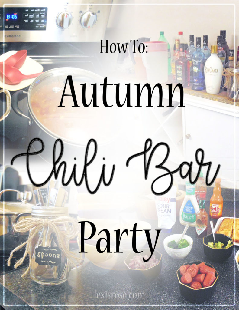how to throw an autumn themed chili bar fall party with great toppings, ideas, decor, and more