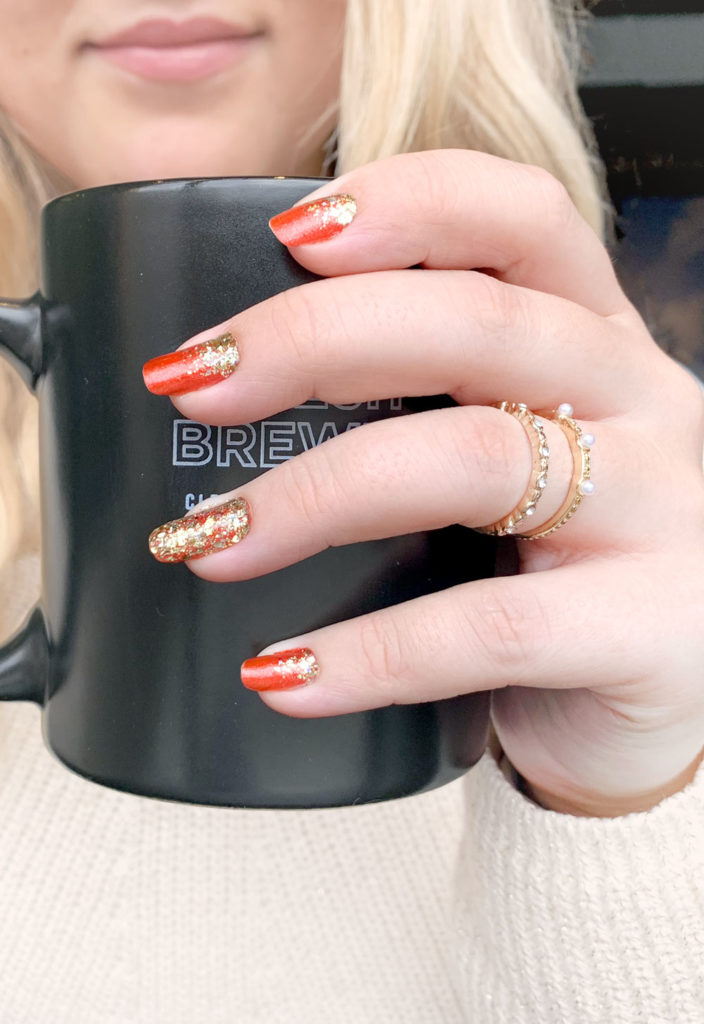 Gold and Red long nails