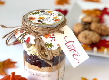 """Jar cookies make the perfect hostess, housewarming, or """"thinking of you"""" gift! This homemade mix for cranberry-walnut cookies is so delicious, too!"""