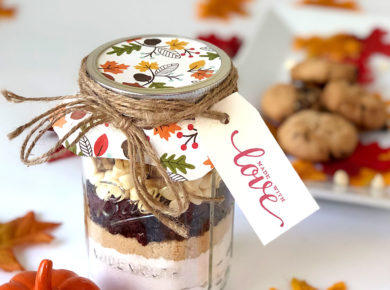 "Jar cookies make the perfect hostess, housewarming, or ""thinking of you"" gift! This homemade mix for cranberry-walnut cookies is so delicious, too!"