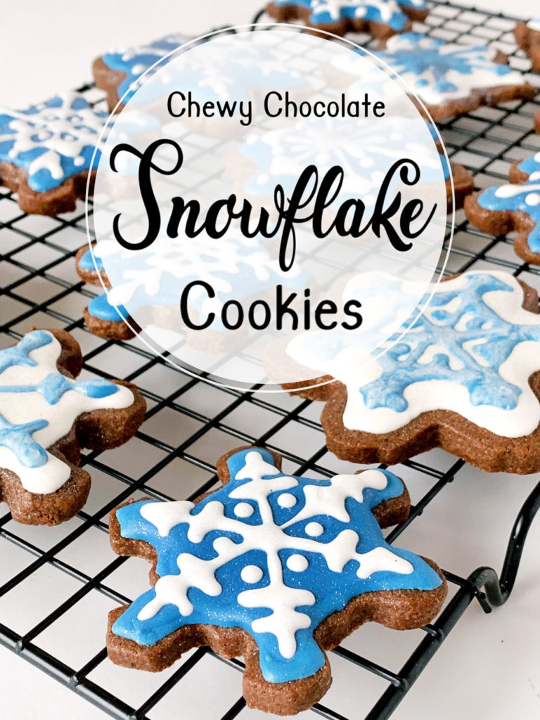 The best recipe for the chewiest, chocolate cutout cookies. These are no-spread chocolate cookies, perfect for cutting and icing into any shapes. #cookies #chocolate #cutout #snowflake