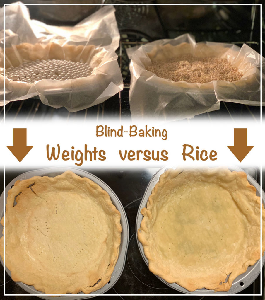 "The difference of blind-baking a pie crust with ""Baking Beans""/Pie Weights versus Rice."