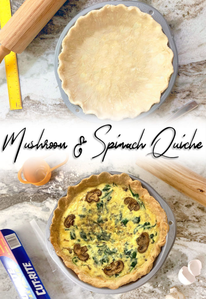 A deliciously flavorful and easy quiche for breakfast or brunch. The garlic, mushrooms, and spinach are perfectly complemented by the light and tangy gruyere/swiss blend added in. This quiche has the perfect texture, a satisfyingly light and crisp crust, and a taste you'll crave over and over again!