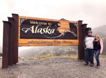 Welcome To Alaska Sign on Alaska Cruise