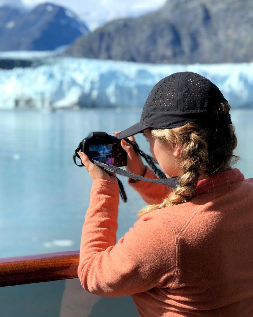 Taking photos on alaska cruise.