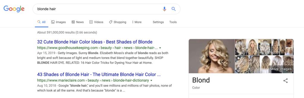 blonde hair google search screenshot