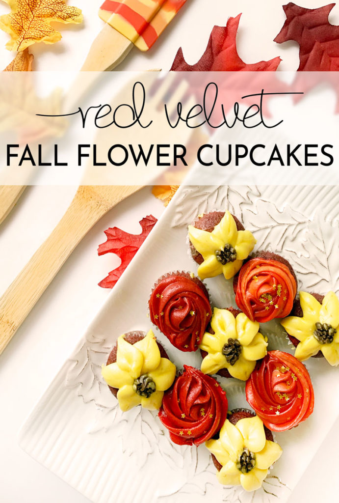 Gorgeous and delicious fall flower cupcakes! Using the best red velvet cupcake recipe, these are a pretty and delicious dessert!
