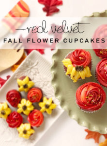 These red velvet cupcakes are decorated with delicious cream cheese frosting to resemble beautiful fall flowers!