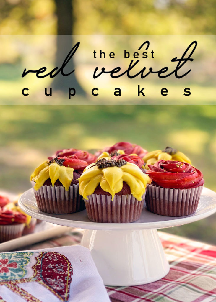 Red Velvet Fall Flower Cupcakes are the prettiest dessert to serve! Plus, they are so simple and delicious!