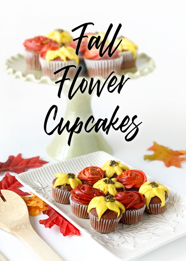Red Velvet Autumn Flower Cupcake Tutorial and Recipe - beautiful, easy, and delicious!