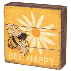 "This cute ""Bee Happy"" wooden sign is just one of my great spring decorating ideas! #spring #decorating #decor #ideas"