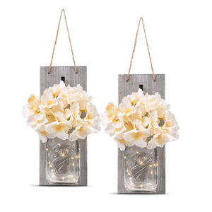 These cute flower jar sconces are just one of my great spring decorating ideas! #spring #decorating #decor #ideas
