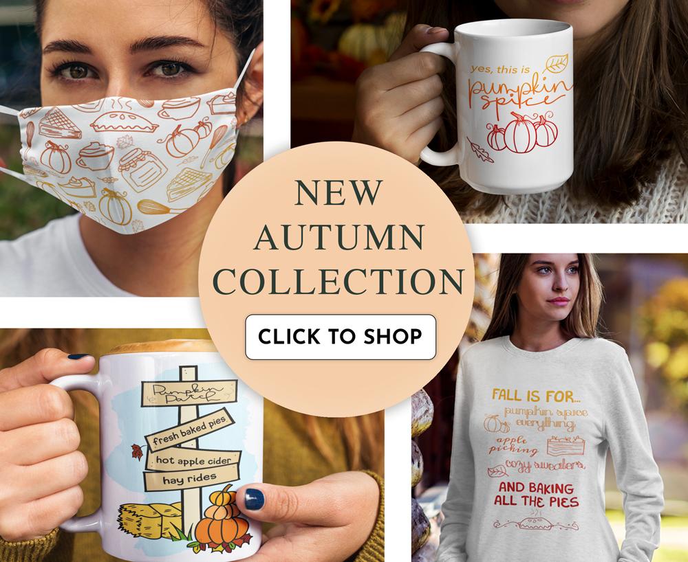 new autumn fall baking mugs, mask, face masks, hoodies, sweatshirts and more