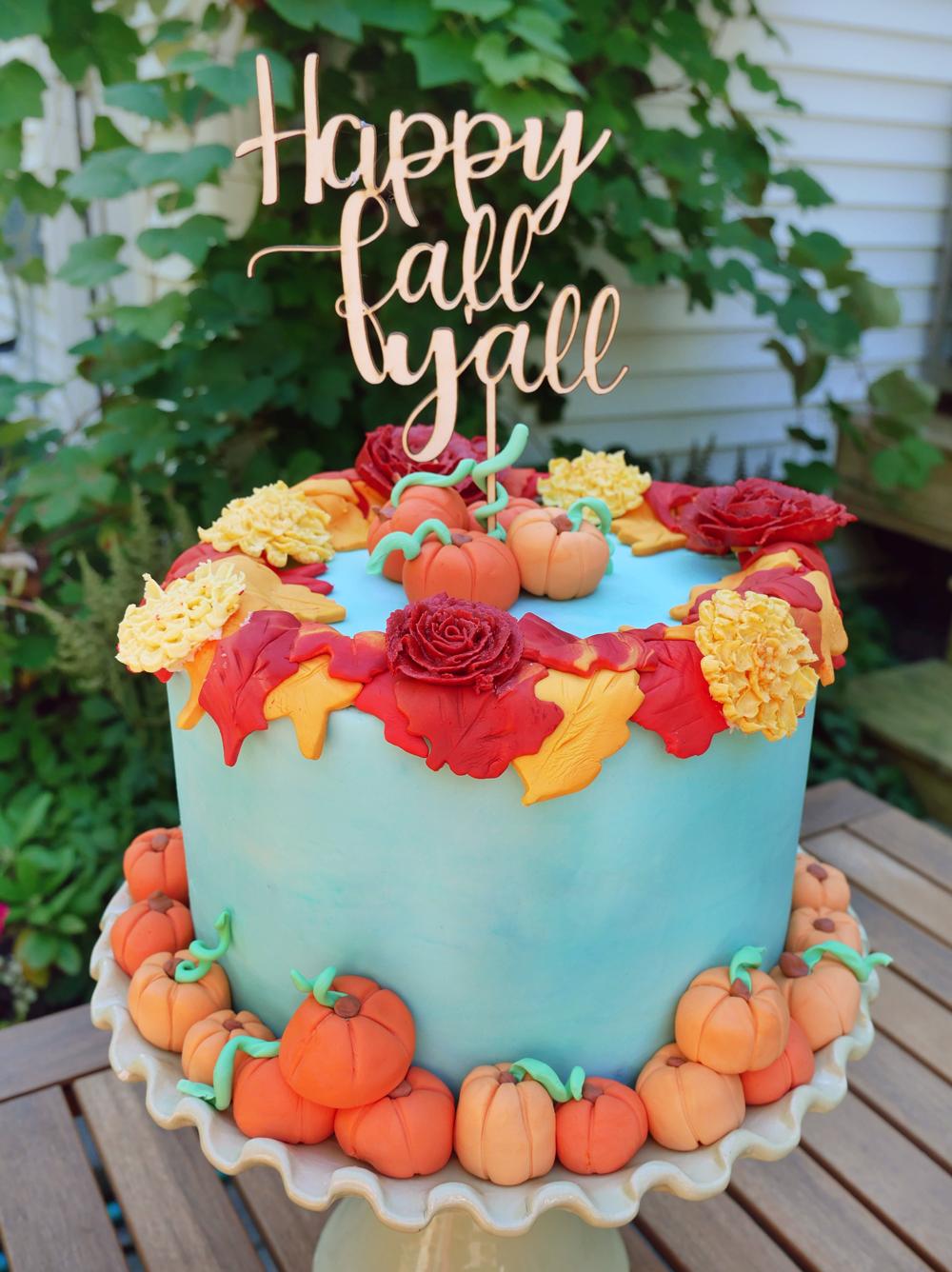 spiced chocolate pumpkin cheesecake cake fall autumn cake decorating tutorial and recipe