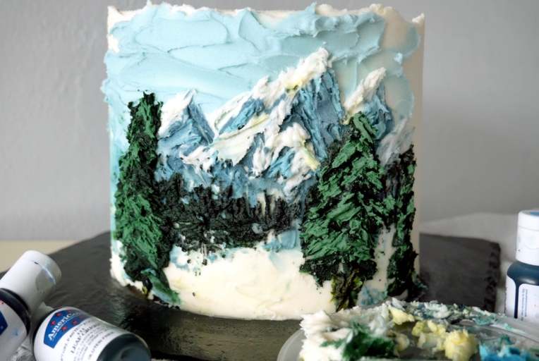 Palette knife painted cake - salted caramel hot chocolate cake! The perfect winter dessert. Learn to paint on a cake with buttercream.