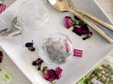 Tea bag bombs made of isomalt sugar and Teavana youthberry tea and edible flowers.