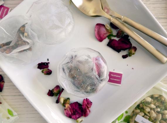 Tea bag bombs made of isomalt sugar and Teavana youthberry tea and edible flowers.