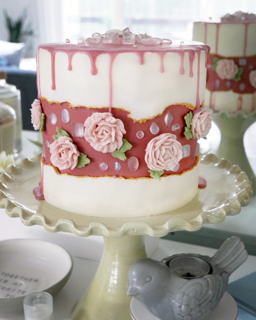 diamond buttercream rose fault line cake with isomalt diamonds and piped buttercream flowers