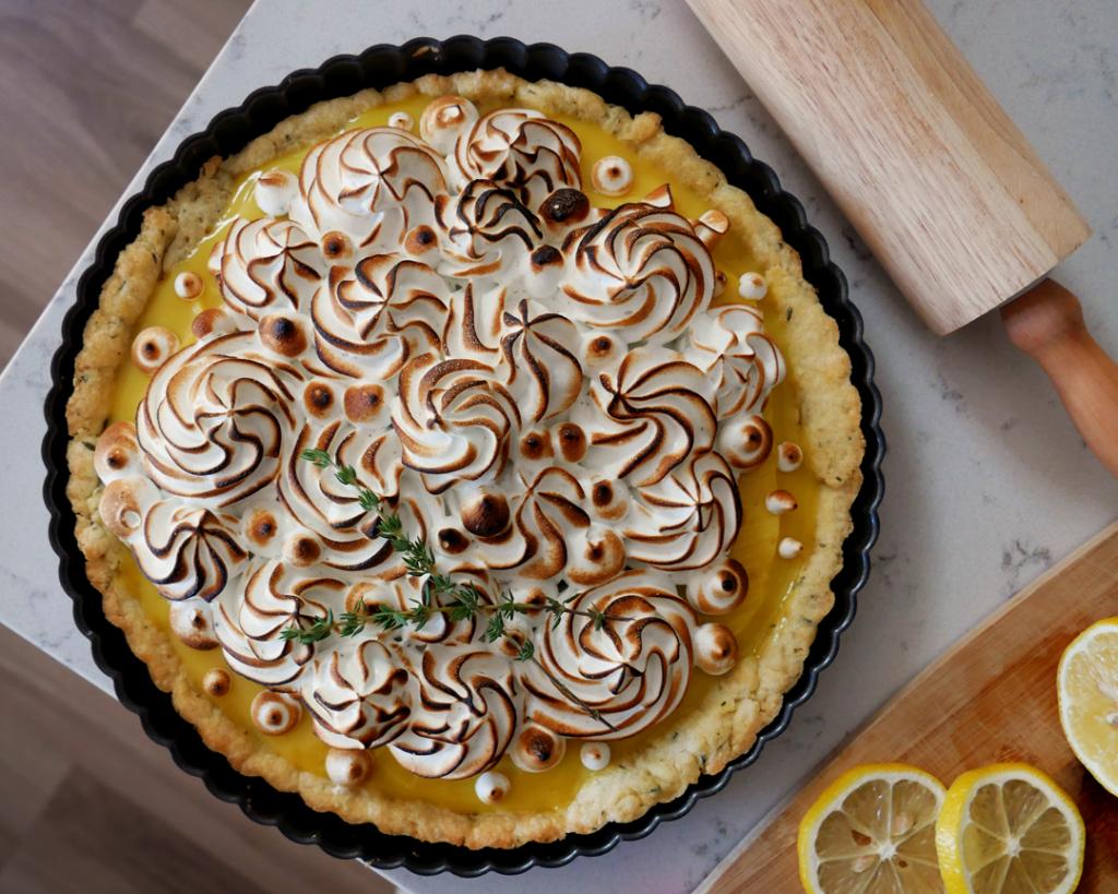 Lemon Lavender Meringue Tart with Thyme Shortcrust Pastry