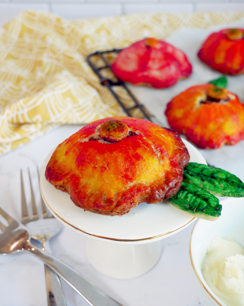 Watercolor-Painted Apple Hand Pies painted with Edible Watercolor to resemble flowers