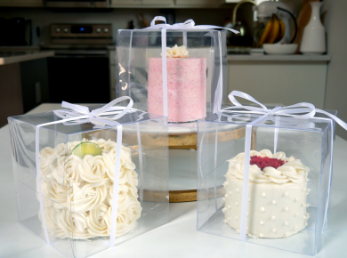 wedding cake tasting as a home baker set-up with three mini cakes
