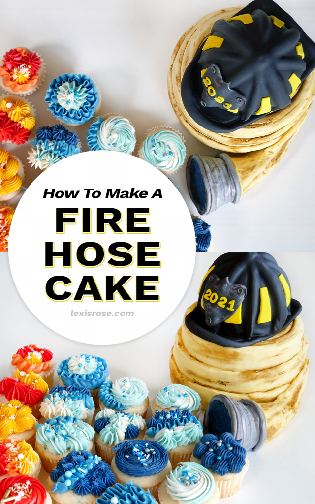 Learn to make a fire hose cake out of buttercream and a firefighter's helmet, too!