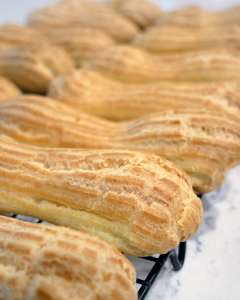 baked choux pastry shells or pate a choux for eclairs
